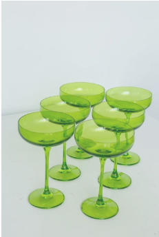$195.00 Champagne Coupe Forest Green (Set/6)