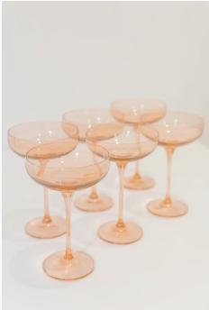 $195.00 Champagne Coupe Blush Pink (Set/6)