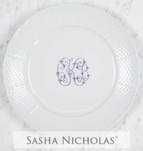 "Sasha Nicholas   Weave 10.75"" Dinner w/Monogram $62.00"
