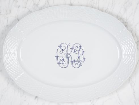 "Sasha Nicholas   Weave Platter 14"" w/Monogram $176.00"