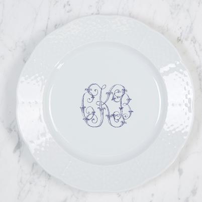 Sasha Nicholas   Weave Salad plate w/Monogram $54.00