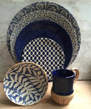 $167.00 Baguette Bowl Cobalt Fern
