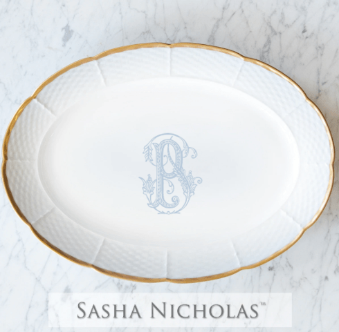 "Sasha Nicholas   Gold weave 14"" Platter with Monogram $215.00"