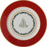 $65.00 Grenadiers Accent Salad Plate Red Band Tree