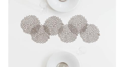 $18.00 Dahlia Coaster Set/6 Gunmetal