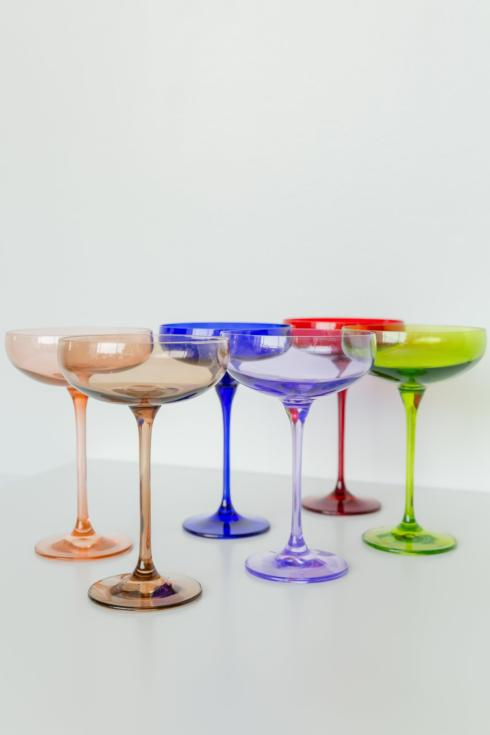 Estelle Colored Glass   Custom Mixed Set/ 6 Champagne Coupes $195.00