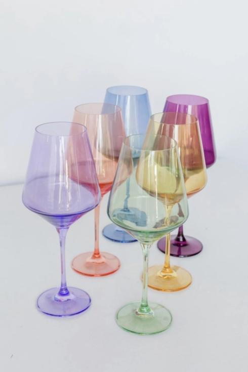 Estelle Colored Glass   Custom Mixed Set/ 6 Wine Glasses $190.00