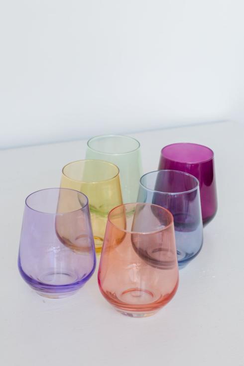 Estelle Colored Glass   Custom Mixed Set/6 Stemless Wine Glasses $175.00