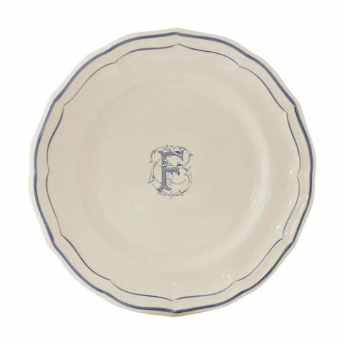 Ivy House Exclusives   Gien Monogram Filet Bleu Dessert Plate $45.00