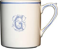 "$60.00 Gien Monogram Filet Bleu Mug ""R"""
