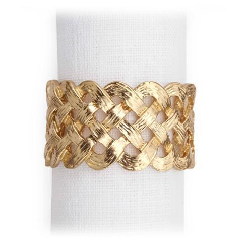 $150.00 Matte Gold Braid Napkin Rings - Set of 4