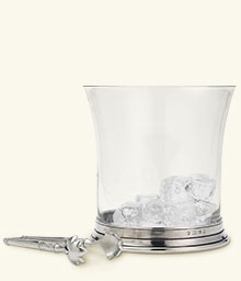 $370.00 Crystal Ice Bucket w/ Tong Set