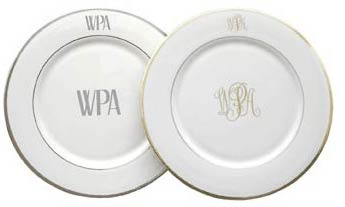 Pickard Monogram   Signature Monogram Dinner Plate $75.00