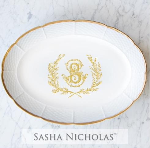Weave Gold Oval Platter With Gold Monogram collection with 1 products