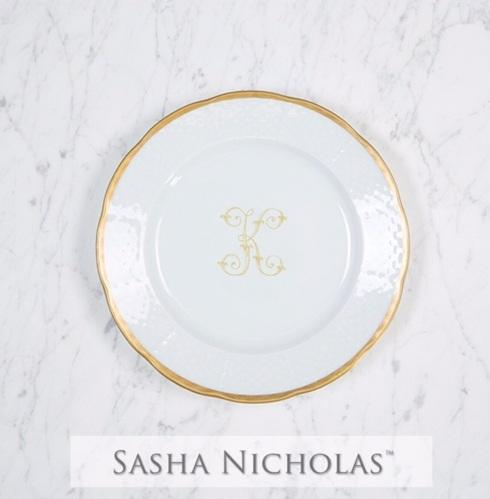$69.00 Weave Gold Salad Plate With Gold Monogram