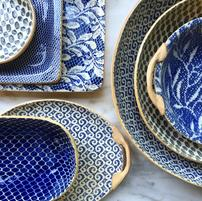 $124.00 Large Canape Tray Cobalt Rattan
