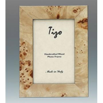 "Tizo Designs   Burl Wood Frame W/ Polished Back 4"" x 6"" $85.00"