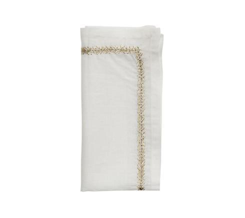 Kim Seybert Linens   Jardin White Gold/Silver Napkins - Set/12 $336.00