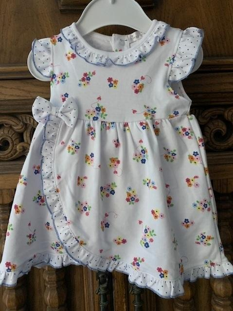 $49.00 Blue Blossom Dress Set 3-6M
