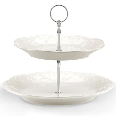 Lenox French Perle - White Entertaining Accessories 2-Tier Server $49.95