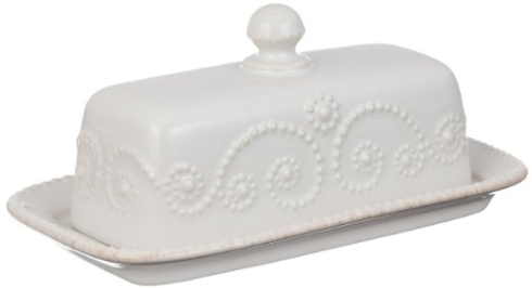 Lenox French Perle - White Entertaining Accessories Covered Butter Dish $34.95