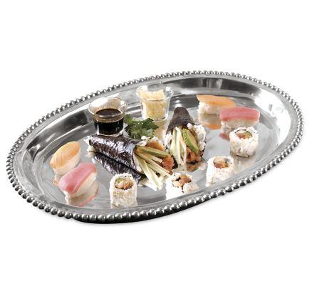 India Handicrafts  Beaded Serveware Small Deep Oval Tray $50.00