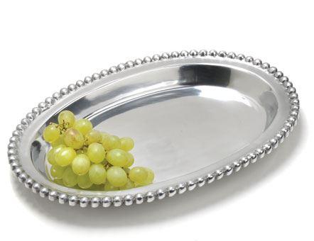 India Handicrafts  Beaded Serveware Oval Tray $40.00