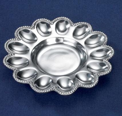 India Handicrafts  Beaded Serveware Round Egg Tray $28.95