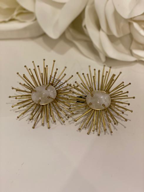 Kim Seybert Linens   Kim Seybert Gold Sunburst Stone NapkinRing $37.00