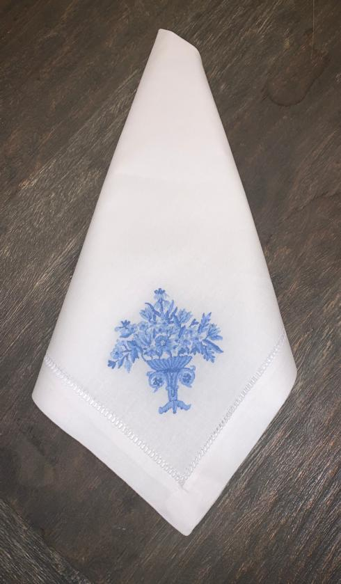 $16.00 White Cotton Dinner Napkin w/Floral Bouquet Embroidery