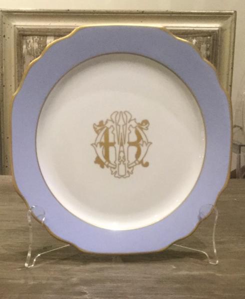 $51.00 Picard colorsheen Blue Monogrammed Bread & Butter Plate