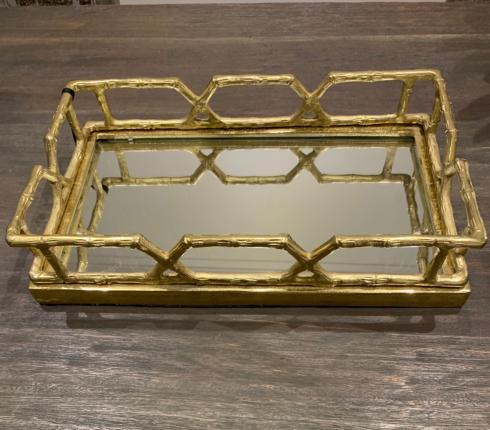 $203.00 Mirror Brass Bamboo Tray