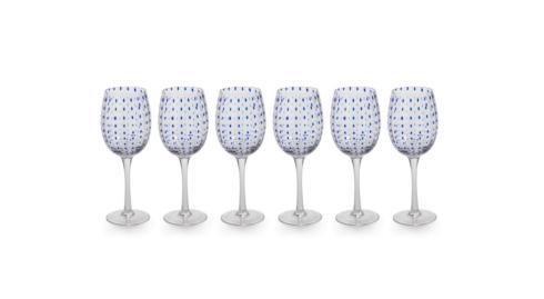 $22.00 Blue Dot Wine Glass