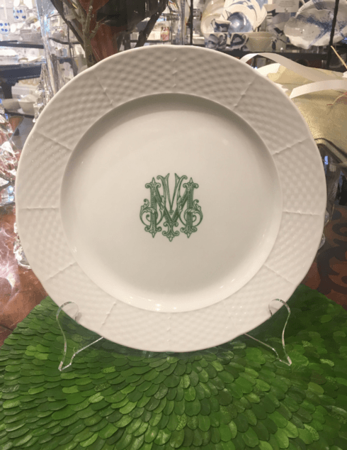 $58.00 Sasha Nichols Dinner Plate with Navy Monogram