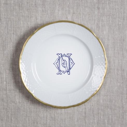$66.00 Monogrammed Weave Gold Rimmed Salad Plate