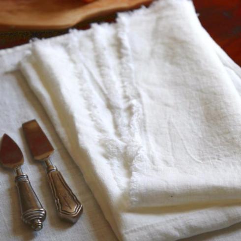 Linen Way   White Bilbao Napkin with Fringe  $22.00