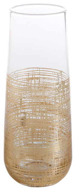Zodax   Crosshatch Stemless Champagne Glass-Gold  $14.00