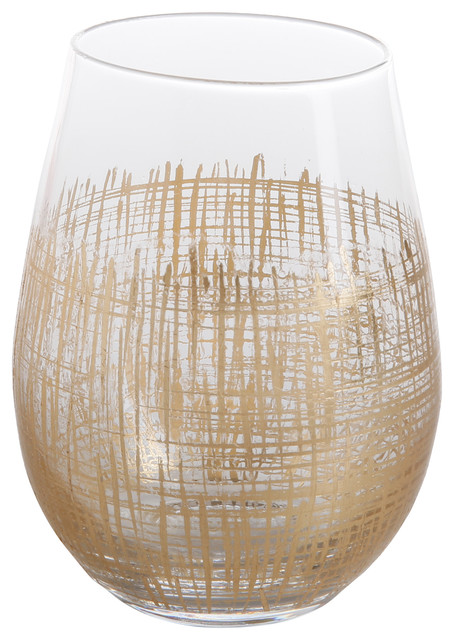 Zodax   Crosshatch Stemless Wine Glass-Gold $16.00
