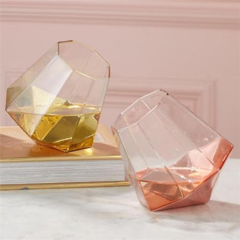 Two's Company   Diamond Gold Glass  $15.00