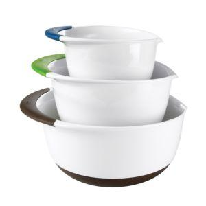 $29.99 3 pc White Mixing Bowl Set - Colored Handles