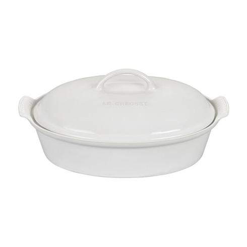 $115.00 White Heritage Oval Casserole with Lid