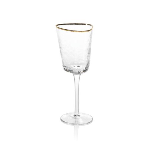 Zodax   Aperitivo Triangular Wine Glass w/Gold Rim $13.00