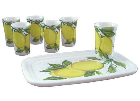 $75.00 Set-6 ceramic glasses and tray (glasses 1 3/4