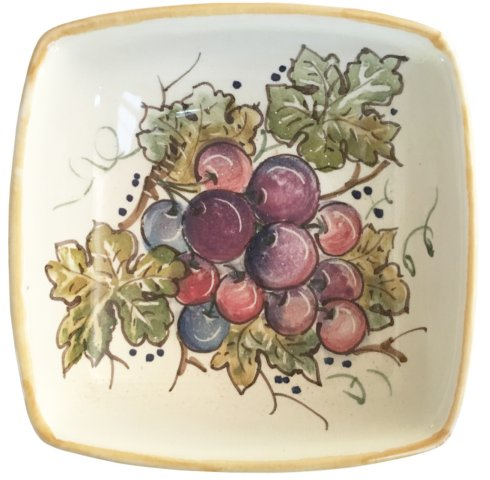 "$42.00 Vineyard Blue/Purple Grapes - Square Bowl 5.5"" x 5.5"""