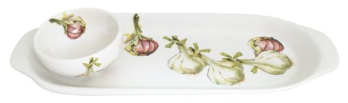"Abbiamo Tutto  Garlic - Aglio Garlic Tray and Small Bowl Set  (tray 12.5"" x 4.5""; bowl 3.25""d, 1.5""h) $55.00"