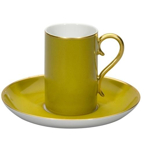$60.00 Coffee Cup & Saucer Green and Gold