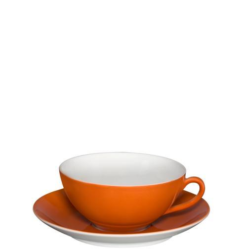 $47.00 Tea Cup & Saucer Dark Orange