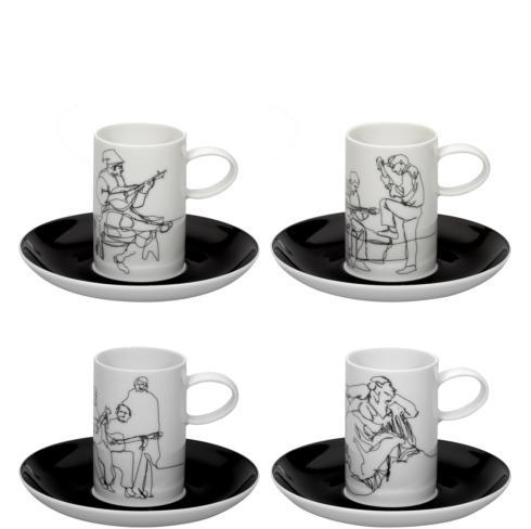 Set 4 Coffee Cups & Saucers