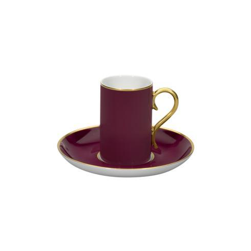 $32.50 Coffee Cup & Saucer Bordeaux And Gold