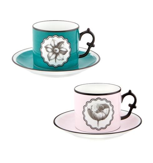 $155.00 Pink and Peacock Tea Cups and Saucers – Set of 2